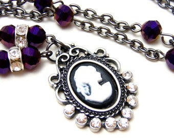 Victorian Purple Cameo Necklace - Silver rhinestone pendant with lady cameo with plum beads and rhinestones - Gothic Victorian