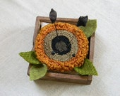 Sunflower PUNCH NEEDLE PATTERN for Simple Wood Pincushion Base - from Notforgotten Farm