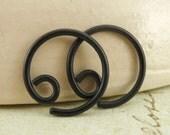 1 Pair - Black Niobium Hypo Allergenic Earring Hoops - 18 gauge - 12mm
