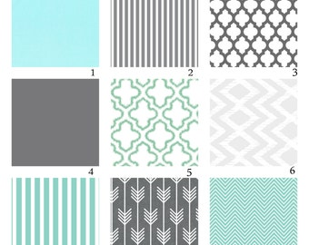 Custom Crib Bedding-3 piece-Mint and Grey