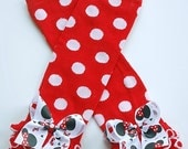 boutique MINNIE mouse RED POLKA dot print leg warmers with attached bows and ruffles