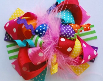 boutique FUNKY FUN RAINBOW plus hair bow clip