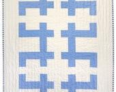 Modern Quilt - Baby Quilt - Blue Keys - IN STOCK