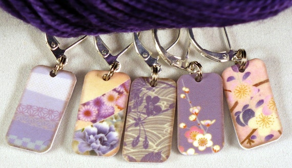 """Double-sided PHAT FIBER """"February is PURPLE"""" Locking stitchmarkers for knitters or crocheters, set 5"""