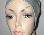 FREE SHIP USA Grey Cotton Hat Liner -Chemo, Cancer, Alopecia, Hijab Liner,  Sleep Cap, Scarf Liner