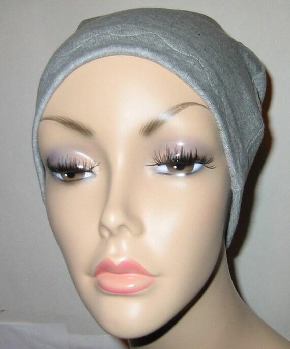 Grey Cotton Hat Liner -Chemo, Cancer, Alopecia, Hijab Liner,  Sleep Cap, Scarf Liner