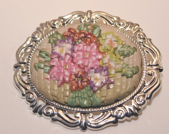 Polymer Clay Faux Needlepoint brooch
