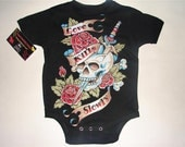 nwt black kids shirt with skull and dagger and wording love kills always