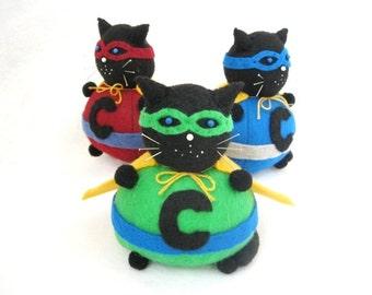 Super cat pincushion, Masked cat, Stuffed cat, cute felt kitty cat decor, Seamstress gift, Cat lover gift, Geek gift, MTO