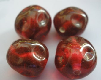 Vintage Glass Beads (4) Handmade Japanese Glass Beads