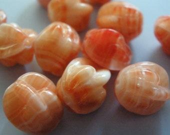 Vintage Glass Beads (12)(10x12mm) Creamy Tangerine Unique Beads