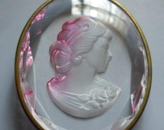 Vintage Glass Cameo Pendant (1) Rose Beautiful German Cameo Bead