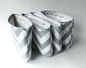 Large Cosmetic Bags with Personalized Message and Fabric Prints, Set of Chevron Toiletry Bags, Bridesmaid Gift for Her