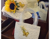 Little Girls Hat and Handbag for Summer, White with Yellow Sunflower and Yellow Butterfly, ages 3 to 9