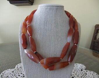 Orange and White Barrel Beaded Necklace