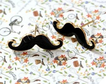 6pcs of kitsch black moustache mustache beard stud earring BN376B