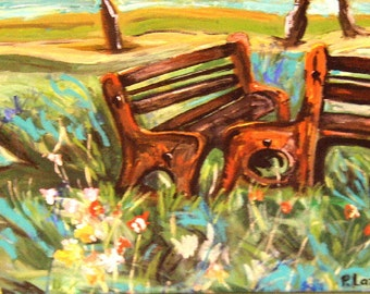 art painting original  park benches with flowers trees and hills  brown aqua green fine art painting