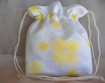 SALE, PRICE REDUCED: Special Event Drawstring Bag,Yellow Flowers Organza Overlay, Gift for Special Event, Event Accessory