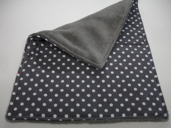 Dumb Dot in Charcoal Baby Burp Cloth with Cuddle Fleece