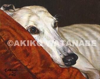 "Akiko Open Edition Print of Greyhound Dog ""Home At Last"""