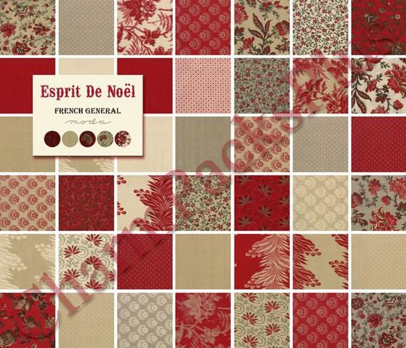 Clearance Esprit De Noel Moda Fabric Charm Pack Five