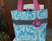 "The ""OUT & ABOUT"" Tote Bag Shabby Chic design in aqua blue /  hot pink / charcoal prints extra large size"