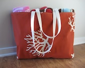 Beach Bag Extra Large - White Sea Coral on Rust Beach Tote - Water Resistant Lining - Interior Pocket