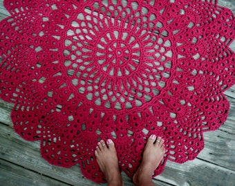 "Wine Red Cotton Crochet Rug in Large 42"" READY to SHIP"