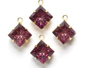 Indented Etched Amethyst Square Glass Stones in 1 Loop Brass Setting 8mm squ002J