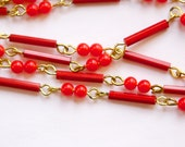 Vintage Red Mixed Glass and Plastic Beaded Chain Gold Links Japan chn072B
