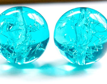 Vintage Blue Acrylic Beads with Confetti 18mm bds528E