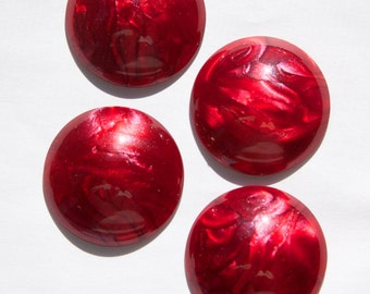 Vintage Silky Metallic Swirled Red Acrylic Cabochons 30mm cab826C