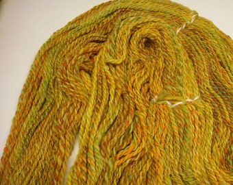 Handspun Hand Dyed Merino Wool 2ply Yarn, Bright Fall Colors of Yellows, Oranges, Greens & Browns