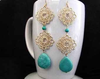 Long Gold Crochet Metal Dangle Earrings with Howlite Turquoise Stones