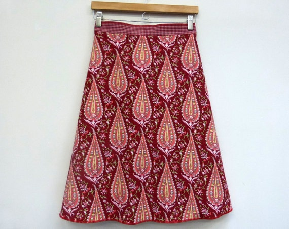 A Line Skirt Knee Length Skirt Wrap Skirt Cotton Skirt