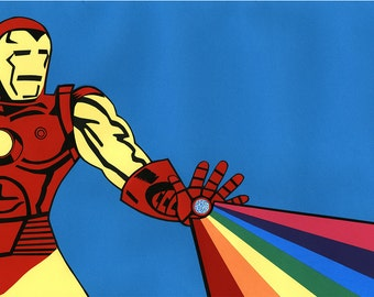 Iron Man Inspired Collage Print // Fan Art // Rainbow Collage Art Print
