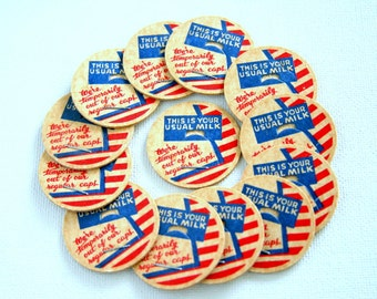 Vintage Milk Bottle Caps  - Patriotic - Red White and Blue - Scrapbooking Embellishments - Bakers Dozen