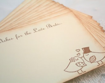 Wedding Guest Book Alternative Cards Wish Cards Set of 10 Wedding Birds Bride and Groom