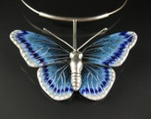 Bir Food -statement necklace, butterfly pendant, fine jewelry, art jewelry, enameled necklace,  cloisonne pendant,  blue butterfly, insect