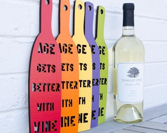 Age Gets Better with Wine MINI sign quote (stocking stuffer)