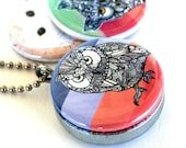 Barn Owl Locket, Horned Owl Jewelry, Bold Nature Art, Magnetic, Recycled Steel, Eco Friendly Jewelry by Polarity, Artwork by MayhemHere