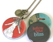 Follow Your BLISS Locket Necklace - Happiness Locket - Joy, Graduation, Daughter Custom Locket, Shirae Artwork, Upcycled by Polarity