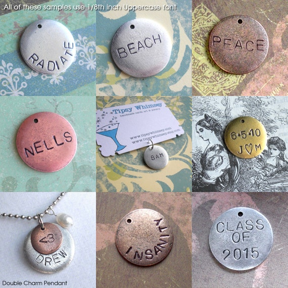 "Round Charms, Very Charming. 1 Word. 3/4"" Medium Disc. antiqued silver, copper, gold charm. Circle Tag, customize name, birthday gift, date"