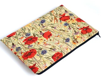 SALE! MacBook 15 Pro Case Zipper Sleeve Cover, Red Poppies Poppy Fabric Bag