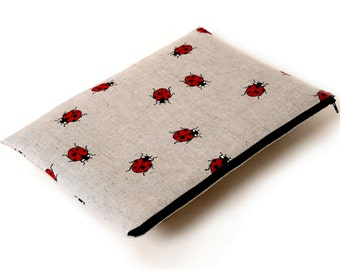 SALE! Case for Surface Book, Sleeve, Cover, Zipper Bag Linen Fabric Red Ladybirds