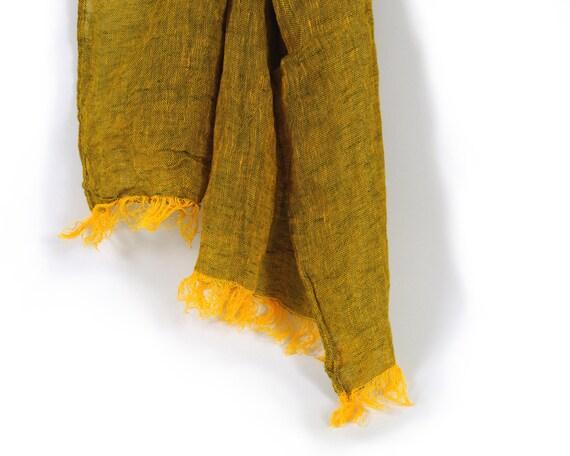 Long scarf women men natural linen, Yellow  Scarf, spring summer autumn winter fashion