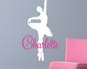 Ballerina Dancer Wall Decal - Vinyl Dancer Wall Art Sticker - Dancing Ballerina with Custom Name - CG115