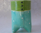 ceramic cup,  utensil holder, vase -- turquoise lime kitchen decor :)