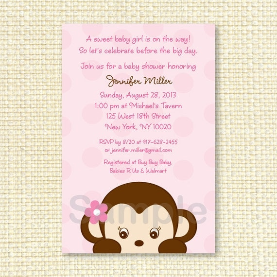 girl monkey baby shower invitation printable by little prints inc