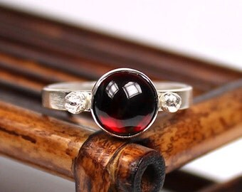 Garnet Ring, Gemstone Ring, January Birthstone Ring, Sterling Silver Ring, Handmade Ring
